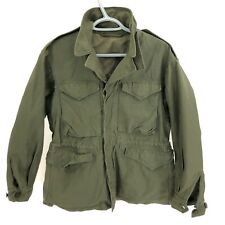 WWII M43 Green Military Field Jacket 38R Cotton Button Storm Collar Vintage