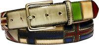 Cintura 4 cm unisex in cuoio anticata a mano - patchwork - Bandiere Nord Europa