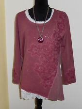 BODY NEEDS SHIRT TUNIKA SWEATSHIRT 38 rot BLÜTEN GLITZERSTEINE LONGSHIRT NEU!