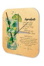 Wall Clock Vintage  Mojito cocktail recipe Kitchen Dekoracion Acrylglass