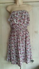 Ladies New With Tags Strapless White Dress with Pink Floral Pattern from Kaos S