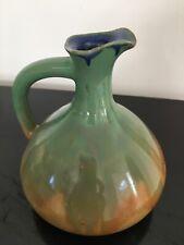 Belle Carafe Broc Pichet En Céramique Vert  Et Marron Avec Anse H 12 Cm