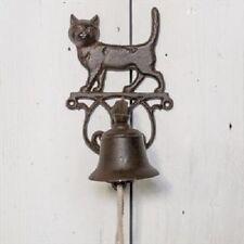 Classic Rustic Black Cast Iron Metal Doorbell Cat Design Bracket 14x15x25cm