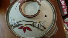 """Japanese Clay Hot Pot Donabe Mint Condition 9 3/4"""" Flowers Hand Painted Japan"""