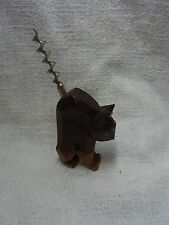 Vintage German Carved Wood Halloween Cat Corkscrew #BN