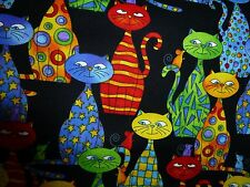 CATS Fabric Fat Quarter Cotton Craft Quilting Timeless Treasures Packed CATS