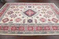 Geometric IVORY Super Kazak Area Rug Hand-Knotted Oriental Wool Bedroom Wool 6x9