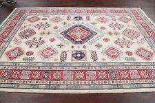 Geometric IVORY Super Kazak Area Rug Hand-Knotted Oriental Wool Bedroom Wool 6x9