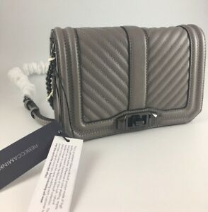 REBECCA MINKOFF GREY CHEVRON QUILTED LEATHER SMALL LOVE CROSSBODY BAG BNWT