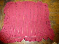 "Crocheted Doll/Baby Blanket Afghan, Mauve  100% Acrylic 25 x 28"""