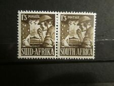 South Africa 1943 1/3 War Effort Stereo Pair. Mounted Mint with Hinge Remains.