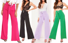 New Silver Buckle Wide Leg Belt Trousers Womens High Waisted Flared Smart Pants