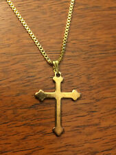 "Gold Tone Religious Cross and 20"" Chain"