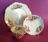 Victoria C&E Dessert Set - Cup Saucer Plate - Pink Blue Purple Daisies - England