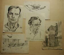 5 Russian Ukrainian Soviet pencil Painting portrait architecture realism 1950s