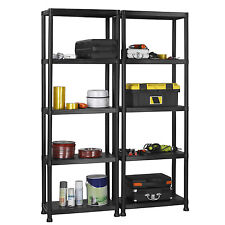 VonHaus Pack of Two 5 Tier Plastic Shelving Utility Unit Shed Garage Storage