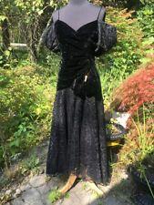 Vintage 80s Dress Velvet Lace Hi Low Hem Gothic Party Retro Puff Slv Glam
