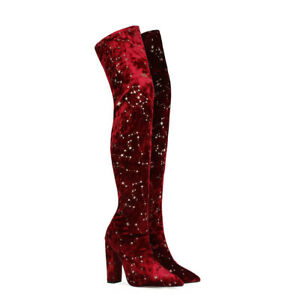 European Womens Sexy Pointed Toes High Heels Rhinestone Stretch Overknee Boots