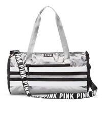 NWT Victorias Secret PINK Duffle Silver Tote Weekender Vacay Gym Campus Bag Cute