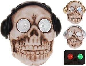 Skull Headphones Disco LED Lights Eyes Sockets Gothic Skeleton Head Decoration