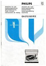 Bedienungsanleitung-Operating Instructions für Philips GA 212,GC 012