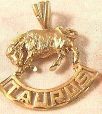 14K Gold Taurus Zodiac Sign Designer Michael Anthony Vintage Pendant Charm 2gr