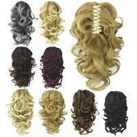 Synthetic Claw Clip Ponytail Extensions Short Wavy Layered Pony Tail Hairpiece