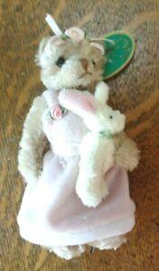 """BEARINGTON PLUSH JOINTED MINI BEAR Bonny & Bunny 3714, 5"""" Easter Ornament w TAG"""