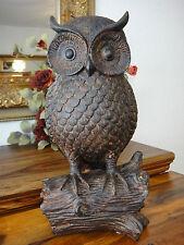 Deko Figur Eule Skulptur Statue Kauz Uhu Holz Optik Gartenfigur Wald Vogel NEU