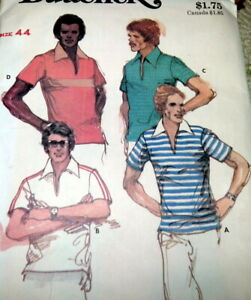 *VTG 1970s MENS SHIRT BUTTERICK Sewing Pattern LARGE CHEST 44 FF