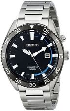 Seiko Men's SKA623 Kinetic 100M Dress Sport S.S. Black Dial Silver Analog Watch