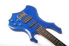 Santander 4-Saiter Metal E-Bassgitarre H/S PU's Tasche Kabel Gurt blau-metallic