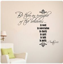 Be thou an example of the believers 1 Timothy 4:12 Wall Decal Sticker Christian