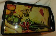 ANCIEN PLATEAU DE SERVICE EN BOIS LAQUÉ 60's . 44 x 26 cm . DECOR FRUITS LEGUMES