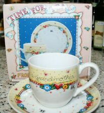 """Mary Engelbreit Time For Tea Cup/Saucer Set """"A Child is Born So is Grandmother"""""""