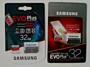 SAMSUNG EVO Plus 2pk of 32GB Micro SDHC 95MB SHIPS FAST FROM CA.USA