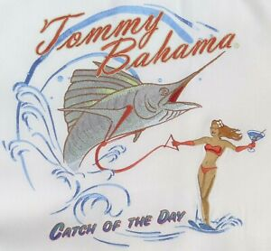 """❤TOMMY BAHAMA MENS sz XL """"CATCH OF THE DAY"""" SILK EMBROIDERED S/S SHIRT~ 50 CHEST"""