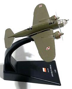 "Vintage PZL P-37B Los - Model Prop Plane w/ Stand 864 N - Diecast Metal -5""x 4"""