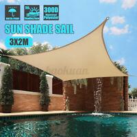3x2m Waterproof Shade Sail Awning Cloth Rectangle Sand Sun Canopy UV
