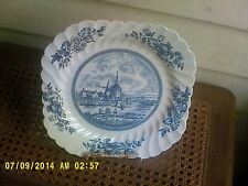 JOHNSON BROTHERS SET OF 2 SQUARE SCALLOPED EDGES PLATES   TULIP TIME IN BLUE