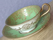 Antique 1890's Royal Doulton Hand Painted Green & Gold bone china tea cup teacup