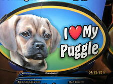 I Love My Puggle 6 inch oval magnet for car or anything metal New