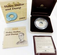 ".2003 .999% FINE SILVER 54.3g RAM $1 PROOF. ""1813 - 2003 HOLEY DOLLAR AND DUMP"""