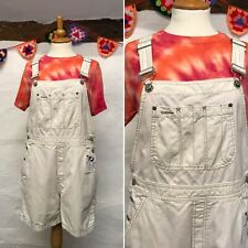 VINTAGE WOMENS SHORT DUNGAREES SIZE 14 16 OVERALLS OFF-WHITE CREAM by GAP (d22)