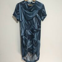 & other Stories size 36 10 Blue Short Sleeve Slip Shift Tulip Dip Hem Dress and