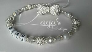 *Diamanté Bow* Bling Romany Crystal & Pearl White Shamballa Dummy Clip *Any Name