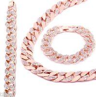 Rose Gold Finish Iced Out Hip Hop CZ Chain & Bracelet Mens Miami Cuban Necklace