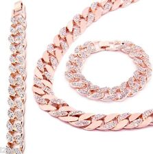 Rose Gold Finish Iced Out Hip Hop Cz Chain Bracelet Mens Miami Cuban Necklace