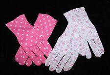 DAISO white floral pink dots 100% cotton night care moisturizing gloves M MEDIUM