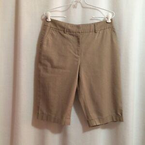 Kenar Cuffed Bermuda Shorts Size 8 Light Brown Linen Blend Gold Shimmer Zipper